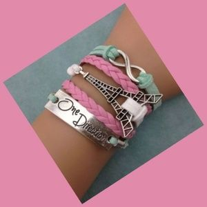 One Direction Tower Infinity Leather Charm Bracele